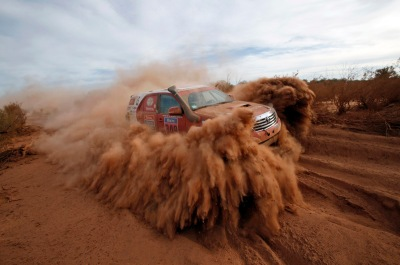 Toyota driver Yacopini of Argentina drives during the 2nd stage of the Dakar Rally 2015, from Villa Carlos Paz to San Juan