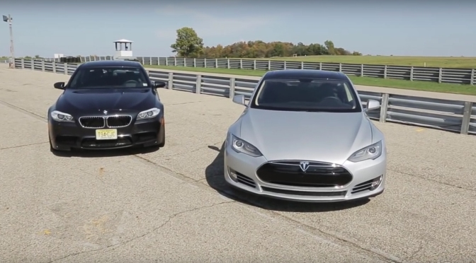 Cine ar castiga o liniuta dintre Tesla Model S si BMW M5?