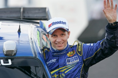 Petter Solberg at the podium ceremony on Rally Norway 2007.